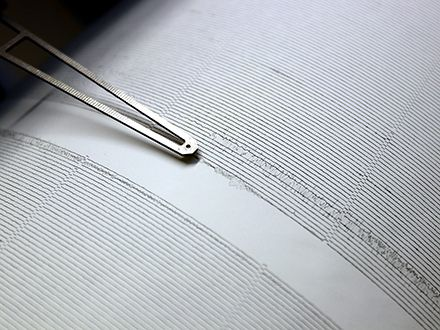 A seismograph needle drawing a black line across white paper.