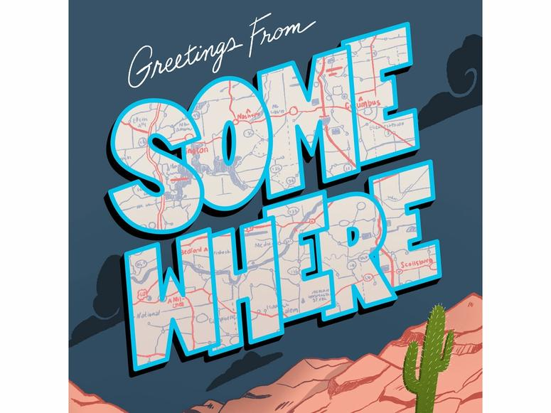 The Somewhere podcast art, featuring a cartoon desert and map.