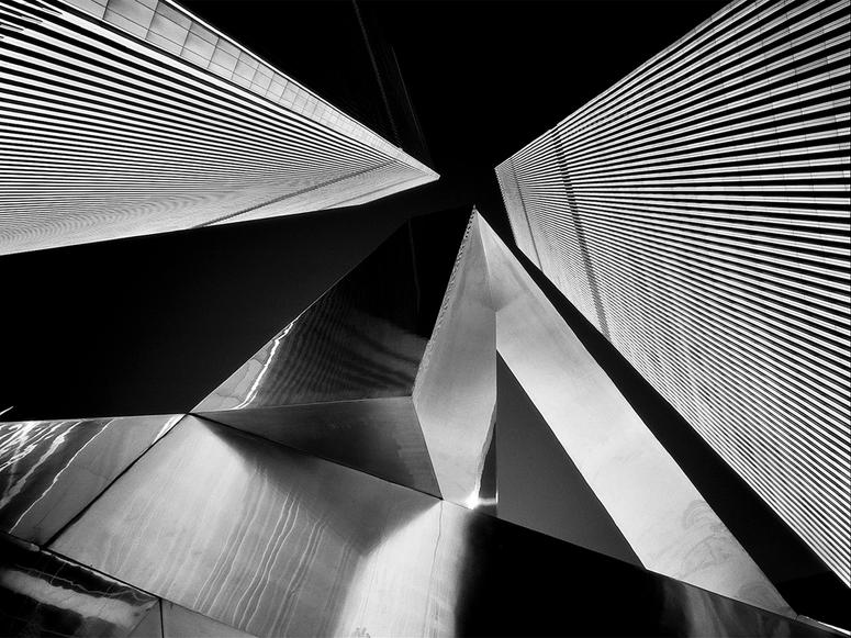 Black and white abstract photo of twin towers by Simon Chaput