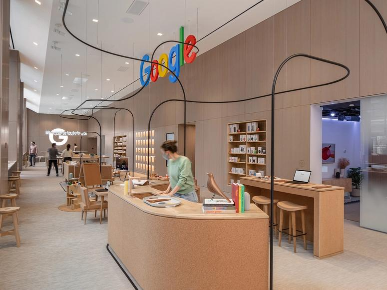 The interior of Google's first retail store.
