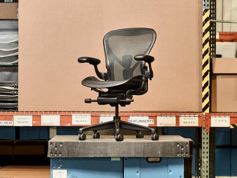 Herman Miller's Aeron chair in Onyx Ultra Matte.