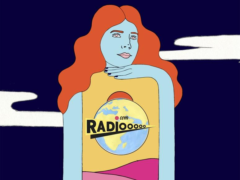 A Radiooooo illustration with a woman with red hair and blue skin.