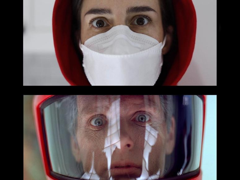 Vertical split screen of a woman wearing a face mask and a man wearing a space helmet
