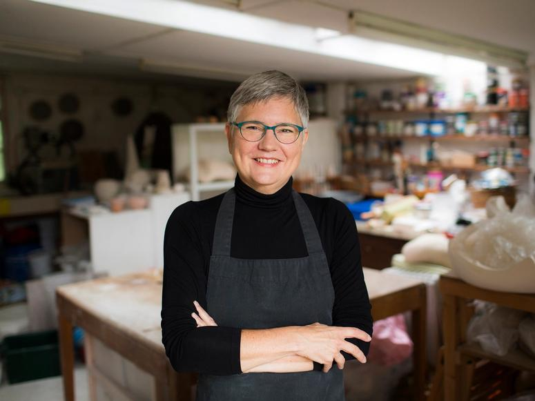 Author and potter Bonnie Kemske in her studio