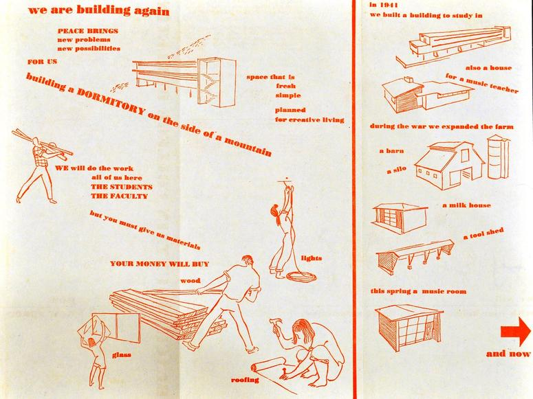 An orange and white handout from Black Mountain College.