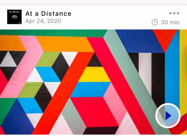 Geometric shapes and colors with the At a Distance logo above.