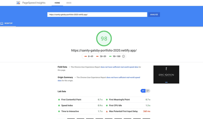 New site's speed test with Google PageSpeed Insights. Score = 98!