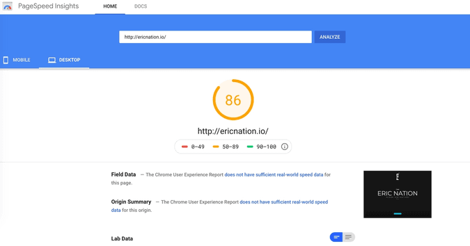 Speed Test screen shot of previous site on Google PageSpeed Insights. Score = 86