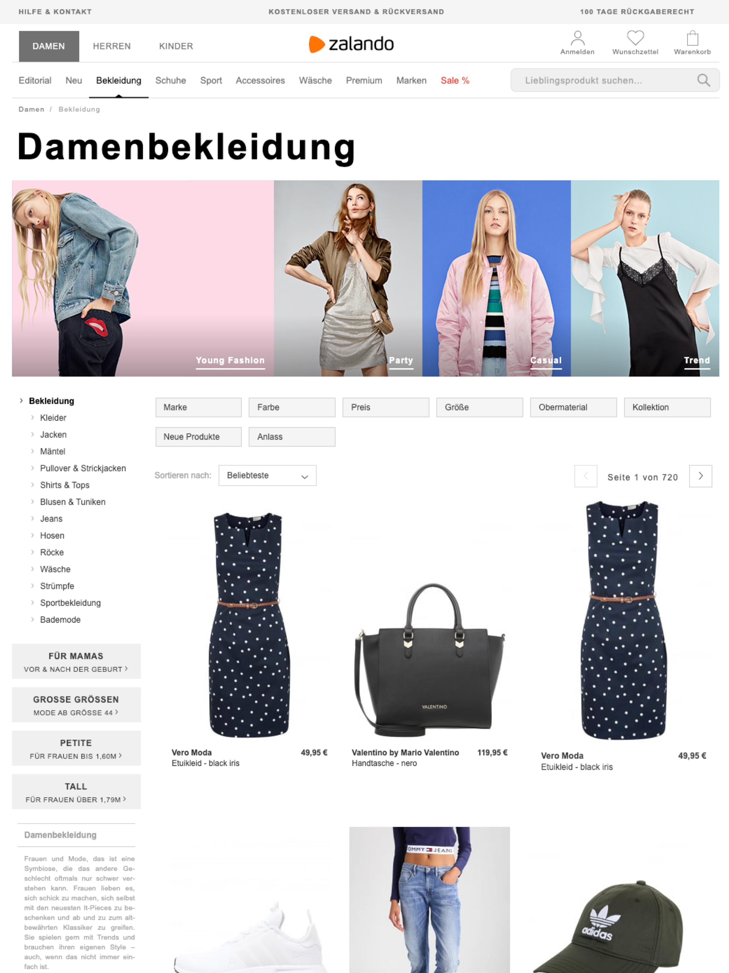 Screenshot of Zalando Catalog before the redesign
