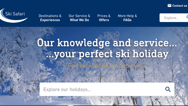 Ski Safari website screenshot