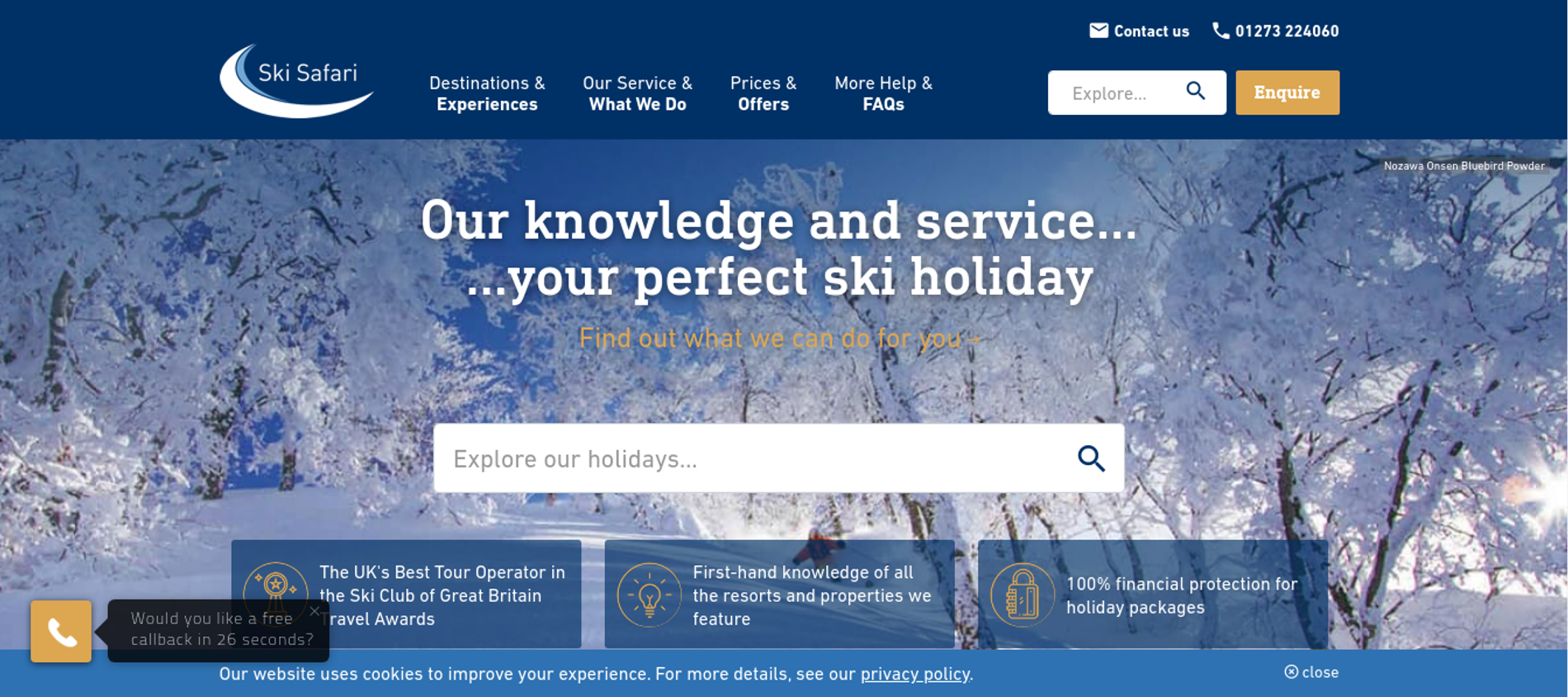Ski Safari website screenshot