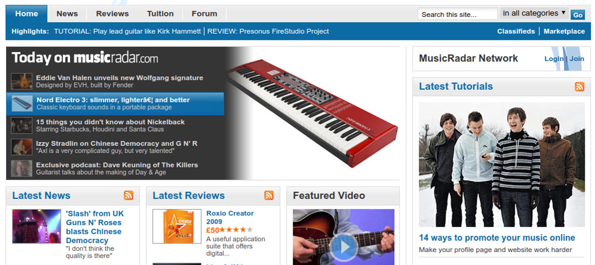 MusicRadar.com homepage