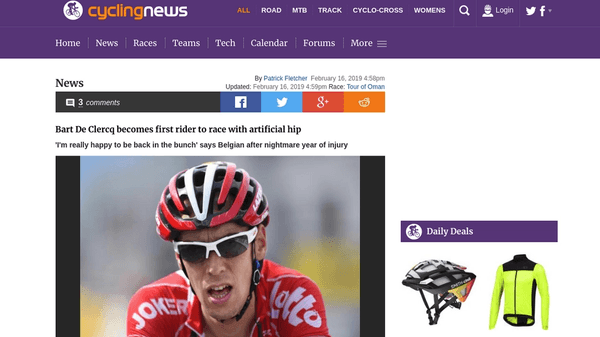 Screenshot of the CyclingNews website