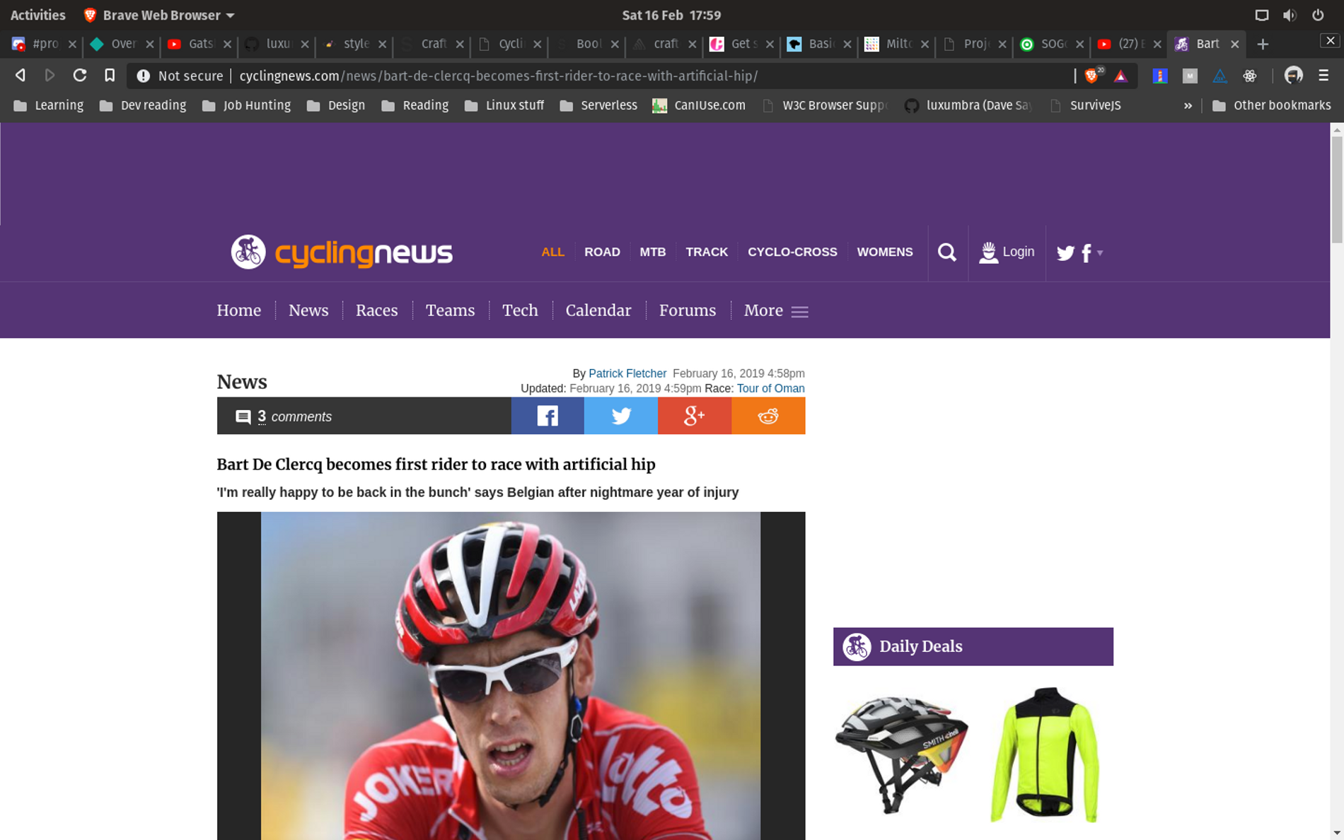 Screenshot of the CyclingNews website