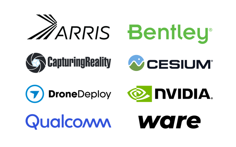 arris, bently, capturing reality, dronedeploy, nvidia, wualcomm, ware logos
