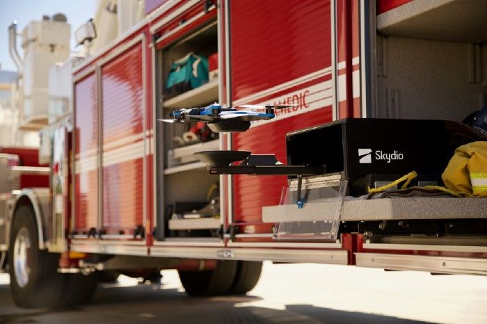skydio drone firetruck dock