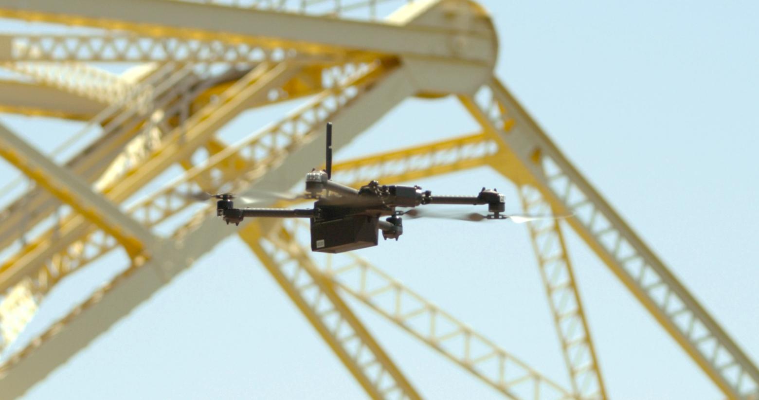 Skydio X2 flying near bridge