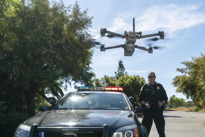 autonomous skdyio drone x2 police law enforcement officer