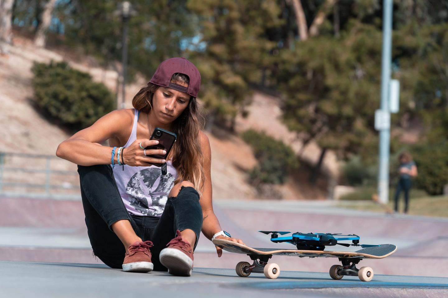 Amber Torrealba checking out her Skydio 2 footage