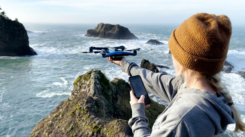 skydio drone launch hand ocean