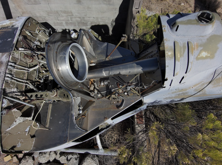 Close-Up Photo of Mock Helicopter Crash Site