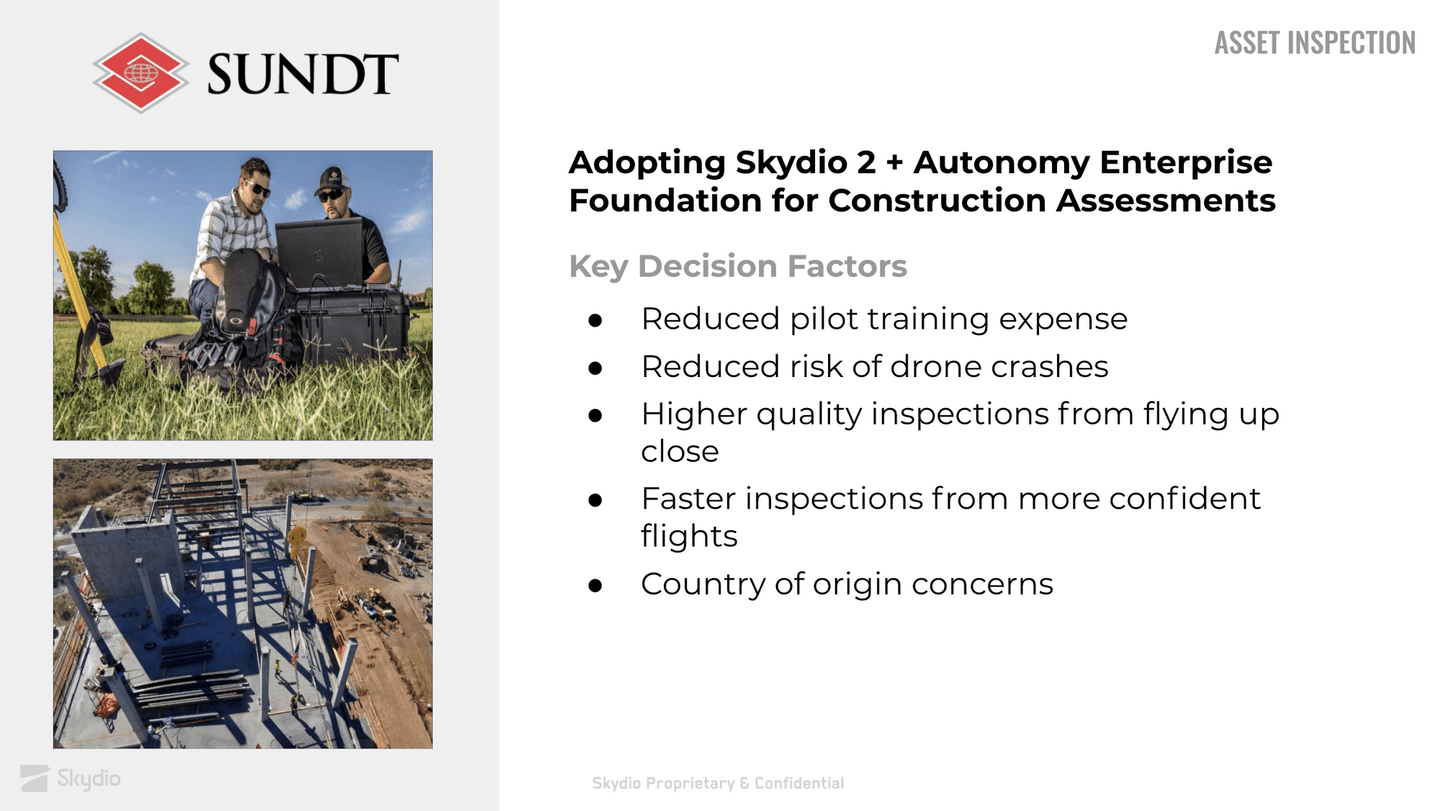 Skydio 2 and Autonomy Enterprise Foundation help Sundt Construction perform construction assessments.
