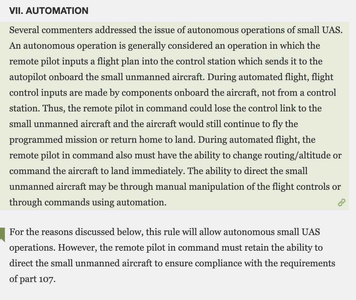 this rule will allow autonomous small UAS operations FAA