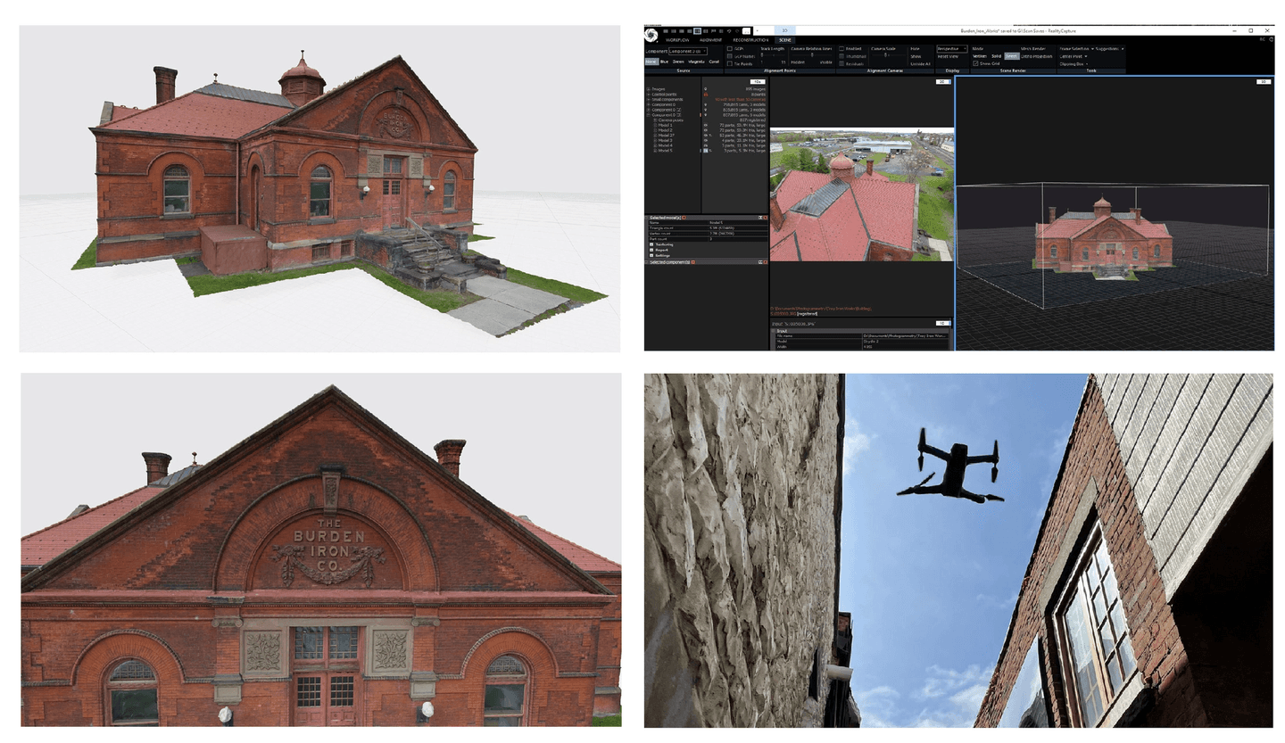 CapturingReality, Burden Iron works Museum, digital twin, historical building, Skydio 3D Scan, Drone Inspection, Drone use cases