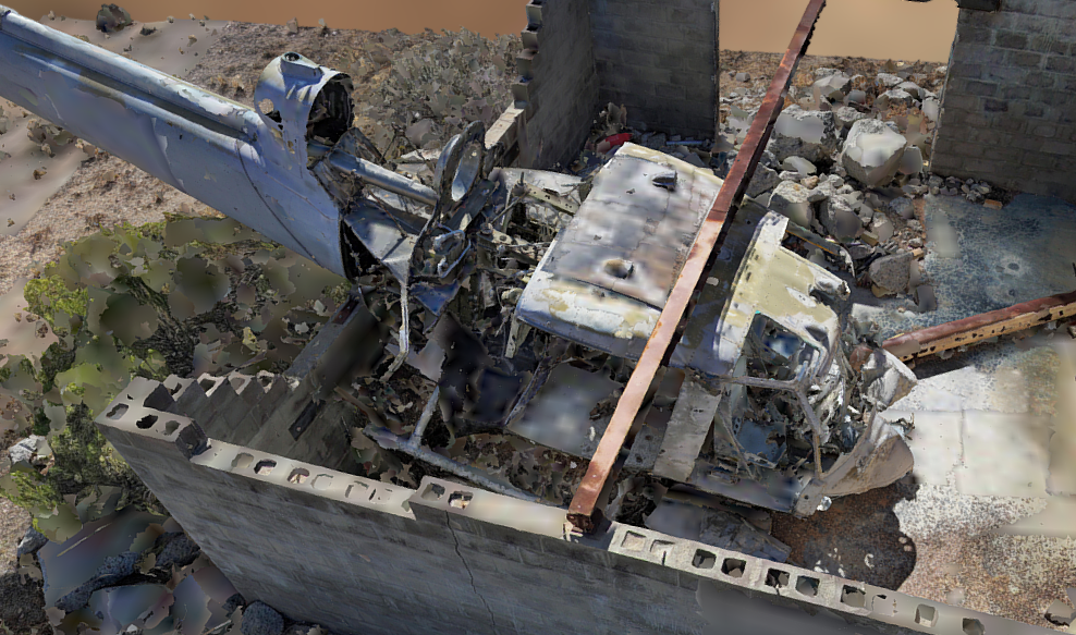 Close-Up Shot of Wreckage from 3D Model