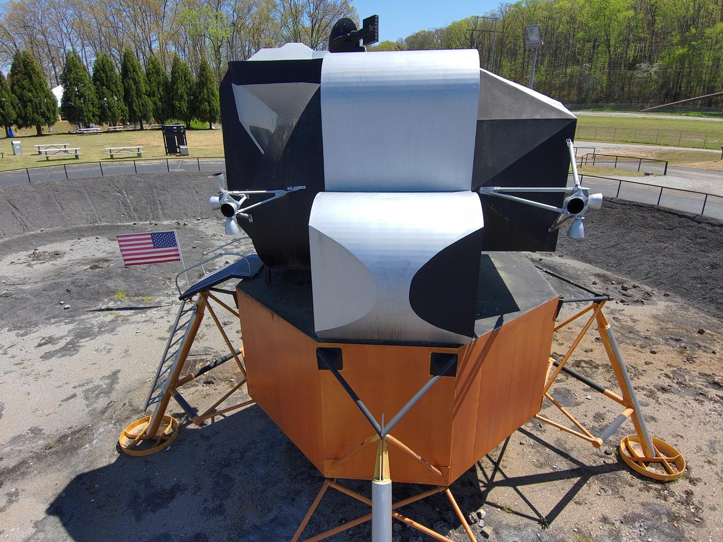 A Drone Photo of the Lunar Lander at the U.S. Space & Rocket Center
