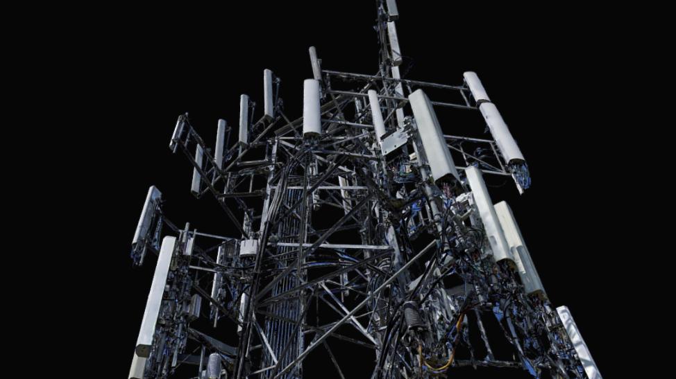 Screen of Cell Tower 3D Model at an Upward-Facing Angle