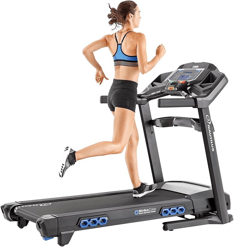 Woman running on the Nautilus T616 home treadmill