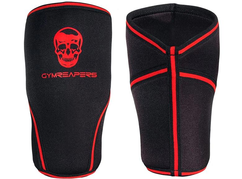 Front and backside of the Gymreapers knee sleeve and compression brace
