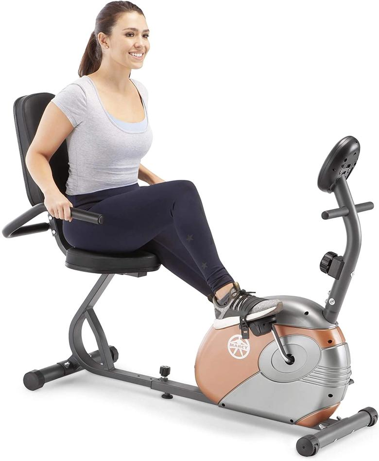 The Marcy ME-709 offers various resistance levels for exercising on a recumbent bike.