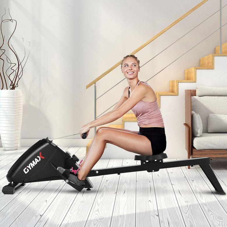Woman doing rowing training indoor
