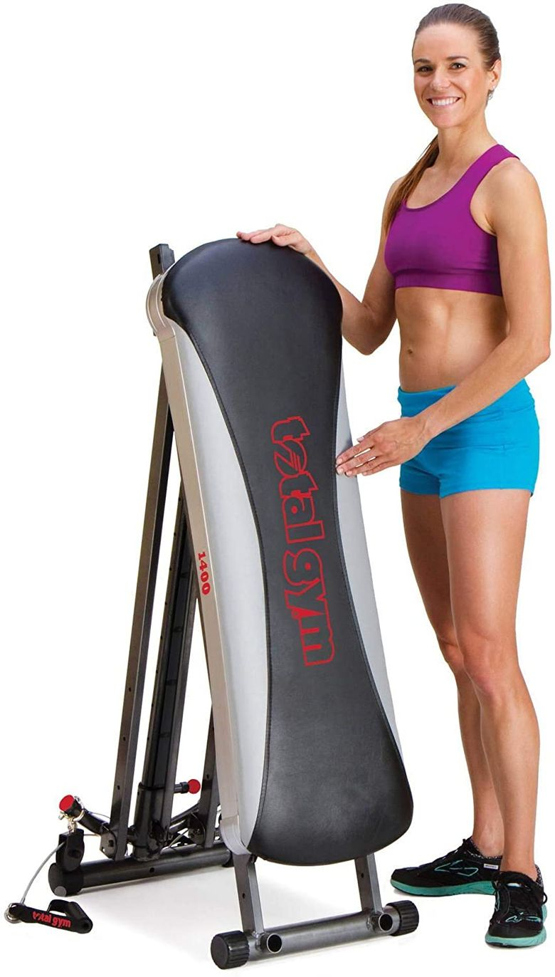 We recommend the Total Gym 1400 because it can be stored in a very small space.