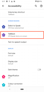 Menu options for Accessibility on Android, including enabling TalkBack screen reading