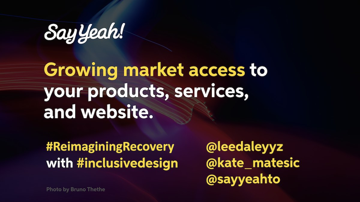The deck cover for the Growing market access presentation from Say Yeah!
