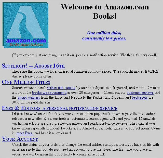 Amazon homepage in 1995