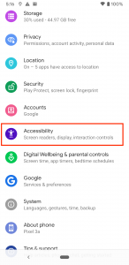 Menu options on Android, with Accessibility highlighted