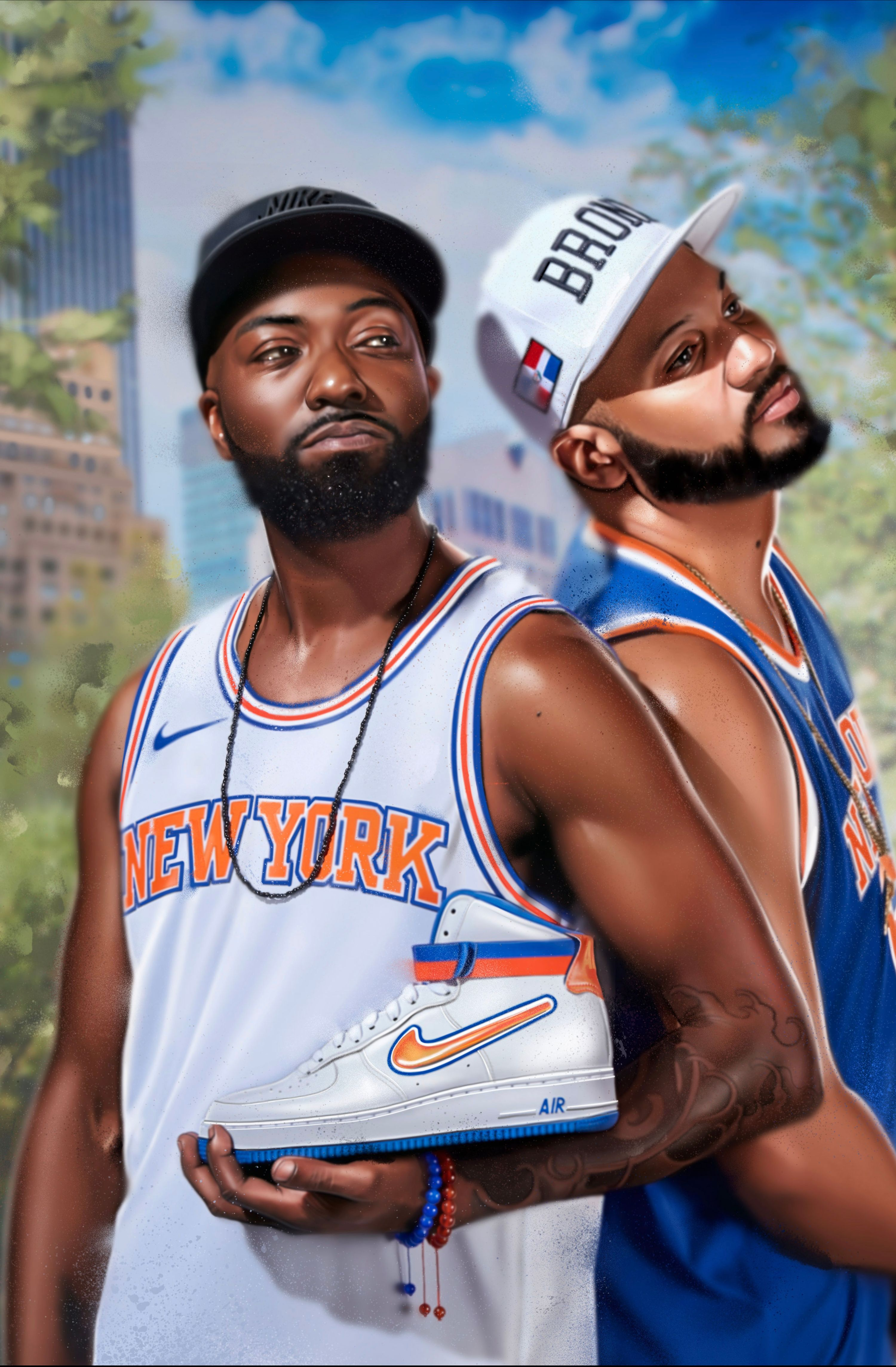 Desus and Mero holding a shoe