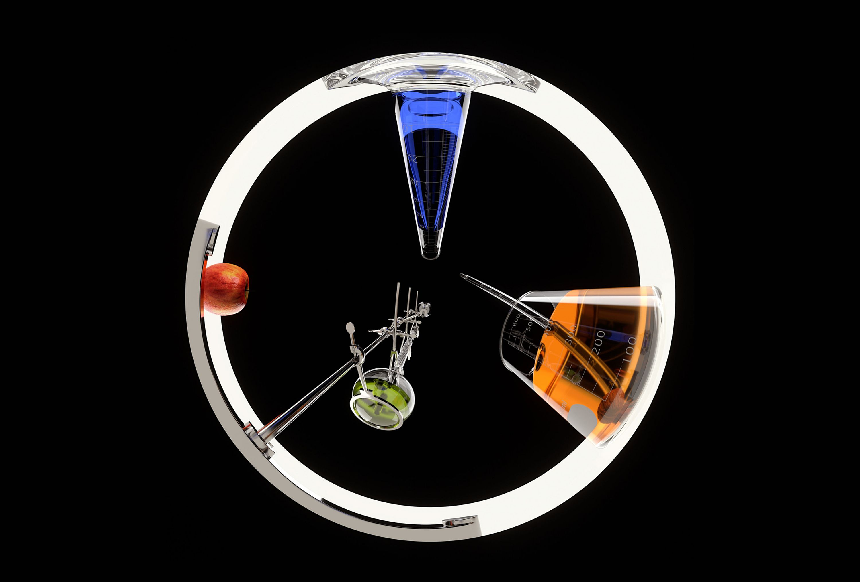 Wheel of lab supplies and an apple