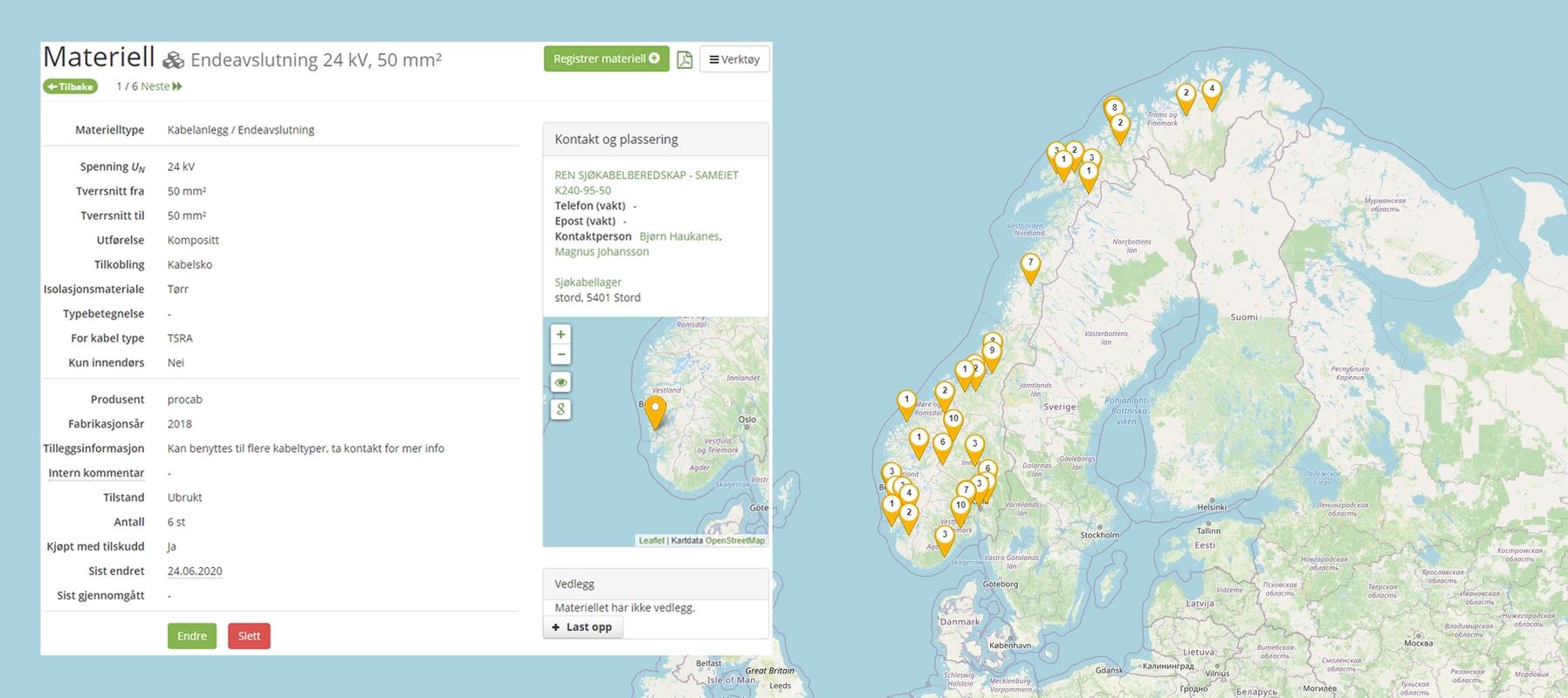 Skjermbilde som viser materielldetaljer og kart som viser geografisk fordeling av eksempelmateriell