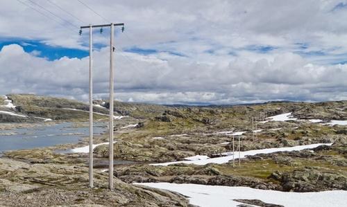 Bilder viser strømstolper av tre i det nordiske fjellandskapet