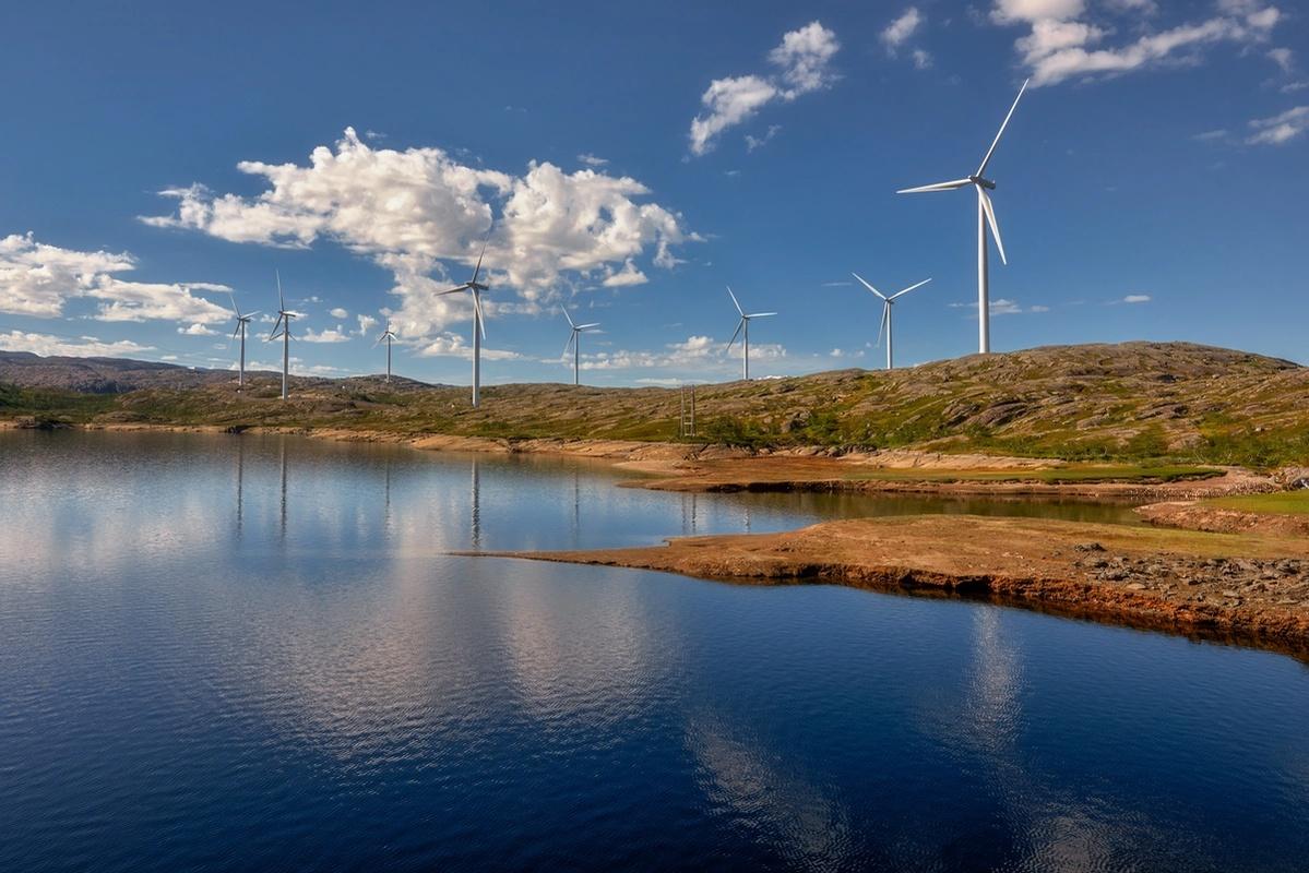 Bildet viser vindmøllepark i LOM