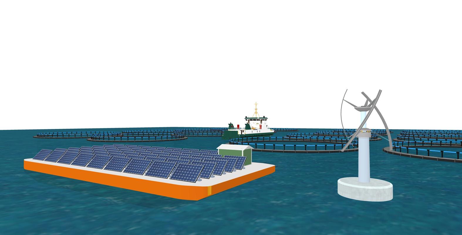 3D-tegning som viser oppdrettsanlegg, vindmølle og solcelleanlegg på havet.