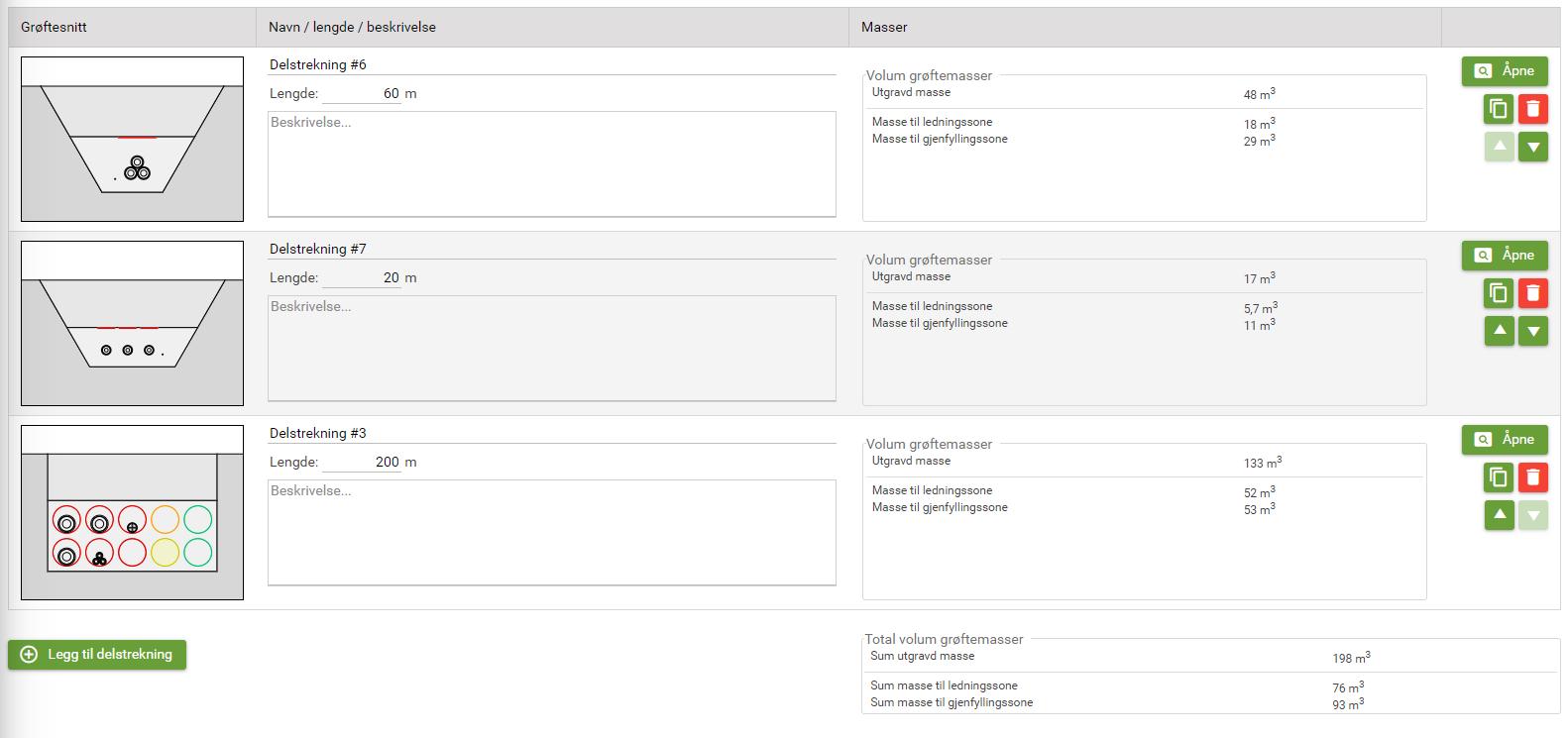 Bilde viser hvordan det ser ut i prosjektsystemet når man har et prosjekt med tre grøftesnitt