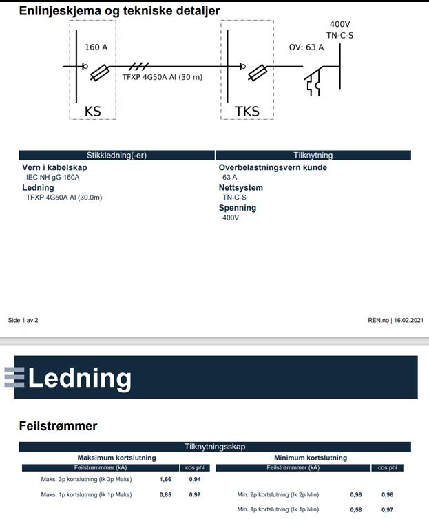 Bildet viser utdrag fra installatørrapport