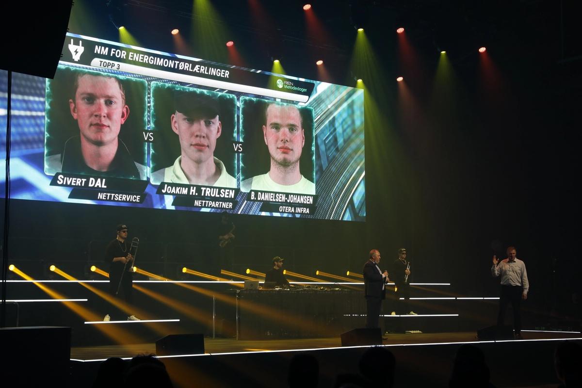 Presentasjon av topp tre av finalistene til NM i energimontørlærling