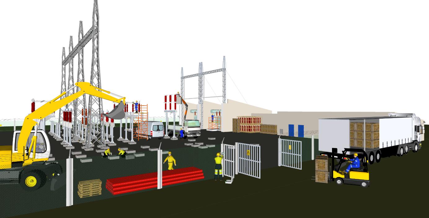 Bildet viser en illustrasjon over ulike arbeidsoppgaver som kjøring av truck, arbeid under linje, håndtering av gravemaskin, portvakt på en arbeidsplass.